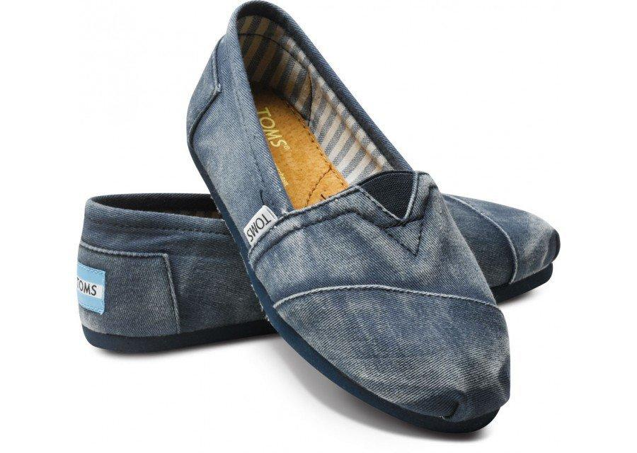 Last Chance - Navy Stone-Washed Twill Classics   TOMS.com
