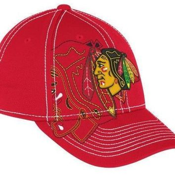 Reebok Chicago Blackhawks Draft Spin Structured Flex Hat - Red