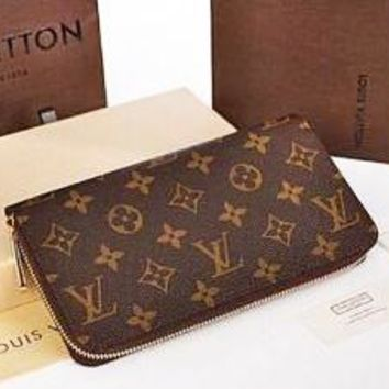 LV Women Zipper Leather Wallet Purse  LV pattern
