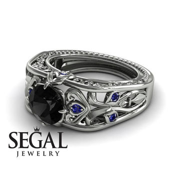 Unique Engagement Ring 14K White Gold Art Deco Ring Filigree Ring Black Diamond With Sapphire - Skyler