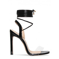 Ella Black Transparent Lace Up Heels : Simmi Shoes