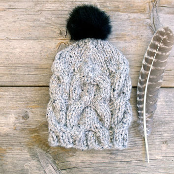 Women's Cable Knit Hat in Grey Tweed with Black Faux Fur Pom Pom, Chunky Hat, Slouchy Beanie Pom Pom Hat Hat with Pom Pom Winter Accessories