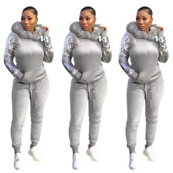 Casual Velvet Two Piece Set Outfits Women Sweatsuit Hoodies Tops Pant Sweat Suit 2 Piece Velour Tracksuit