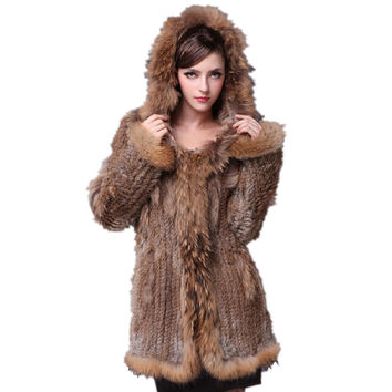 Euro Fashion Women Fur Coat Real Rabbit Fur Knitted Thicken Warm Outerwear Genuine Raccoon Fur Trim Hooded Fur Overcoat CT295