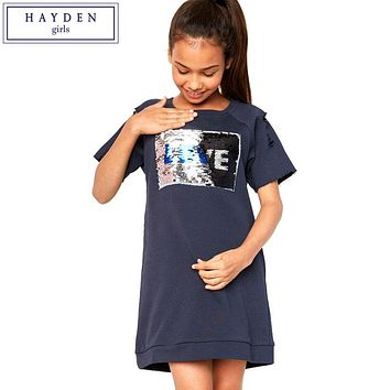 HAYDEN Girls Sequin Dress Summer 2017 Short Sleeve Sweatshirt Dress Teen Girl Kids Fashion Casual Dresses 7 to 14 Years Clothes