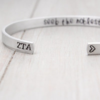 Zeta Tau Alpha Cuff, Licensed Sorority Jewelry,Hand Stamped Cuff,Handstamped Jewelry, Personalized Cuff, Personalized Gift Idea,