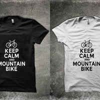 keep calm and mountain bike Unisex shirt men women tshirt gift funny t-shirt Sz: S-2XL