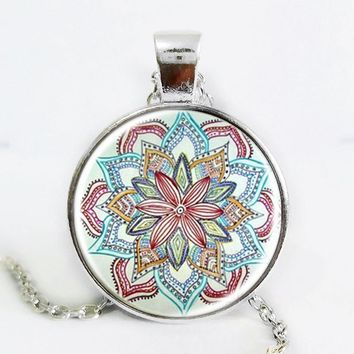 Gem dome glass rhinestone necklaces jewelry mandala flower pendant & necklace henna yaga necklace om symbol buddhism zen 3 color Silver Plated