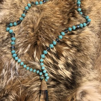 Turquoise beaded Necklace w/ Crystal