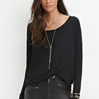 Semi-Sheer Drop-Sleeve Top