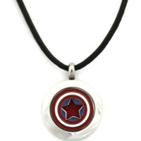 """Captain America"" Small 316L Stainless Steel Essential Oil Diffuser Necklace- 20mm- 18-20"""
