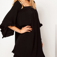 Bell Sleeve Flounced Chiffon Dress
