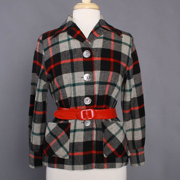 50s WOOL 49er JACKET / 1950s Black & Gray Tartan PENDLETON Plaid Jacke