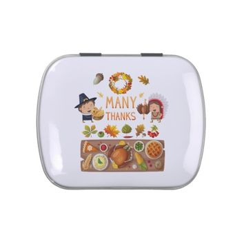 Many Thanks Pilgrim And Native Thanksgiving Feast Jelly Belly Tins