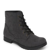 Qupid Wyatt Ankle Lace Up Boots - Womens Boots - Black -