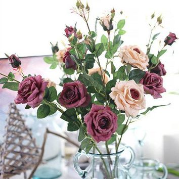 Artificial Fall Roses Fake Leaf Flowers Home Wedding Decoration Flowers Home Ornament Accessories E2S