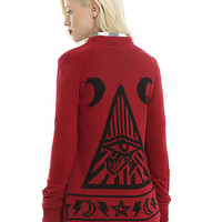 Burgundy & Black Mystic Eye Girls Flyaway Cardigan