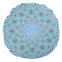 Boho-romantic colored mandala ornament arabesque round pillow