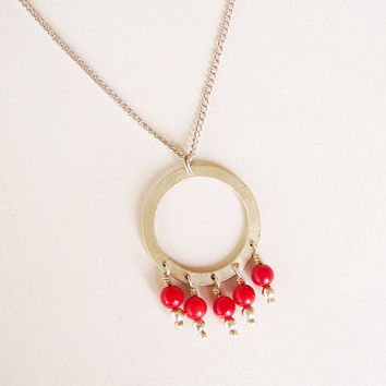 SALE - Round Red Pendant - Sterling Silver and Red Coral Stones Pendant, silver plated chain - Circle Necklace - Red and silver
