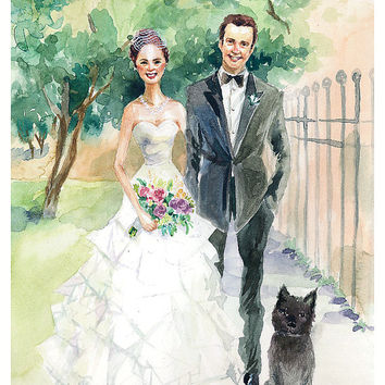 Custom Wedding Portrait, Couple Portrait illustration, Watercolor, Gift for Wedding, Wall Art, Home Decor, Original Art