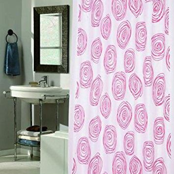 Garden of Eva Rose Design Lucerne Fabric Shower Curtain with Poly Taffeta Flocking in Red/White Size: 70 inch  x 72 inch