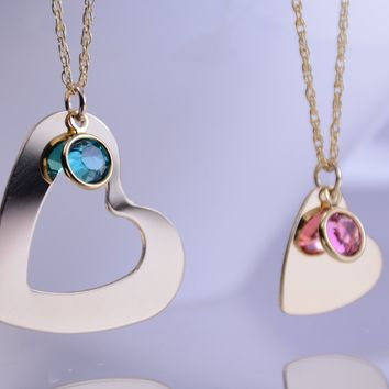 Mother daughter gold heart necklace set, Mother daughter gift, Mother daughter jewelry, Gold heart with birthstone necklaces