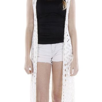Crocheted Long Coverup Vest 114