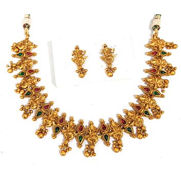 Temple jewelry - Lord Ganesha Charm with gold cluster bead Choker necklace and earring set