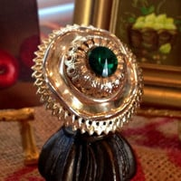Gold and Green Ring, Metal, Vintage