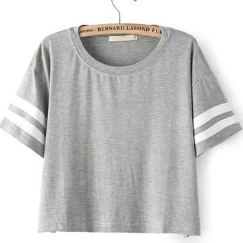Grey Striped Short Sleeve Crop Top