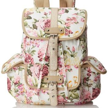 Wild Pair Floral Canvas With Glitter Trim Backpack Handbag