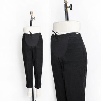 Vintage 1950s Maternity Pants - Corduroy Black Pin Up Pedal Pushers High Waist Slacks - Large