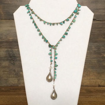 Boho Crocheted Necklace, Turquoise and Silver, Country Beaded Necklace, Lariat Style, Extra Long, Layering