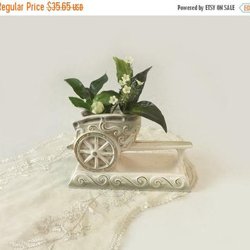 ON SALE - Rubens Chariot Vase, White Green and Gold Ceramic Planter, Cottage Chic Table Decor, Hickok Design