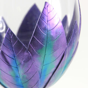 2 Purple Wine Glasses, Peacock Decor, Custom Wine Glasses, Wedding Gift, Handmade Wine Glasses, Christmas Gift , Hostess Gift, Unique Wine