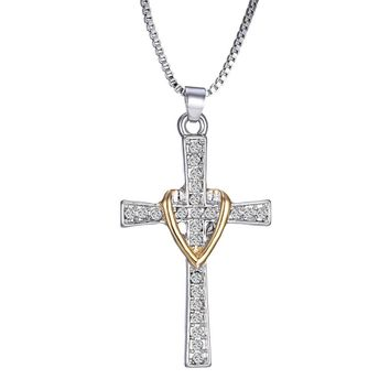 Silver Plated Gold Cross Necklace Necklaces for Women Fashion Jewelry Gold Chain