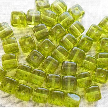 Lot of 25 Olivine Green Cube Beads, 5 x 7mm Czech glass beads, C4225