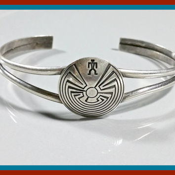 Vintage Southwest Silver Cuff Bracelet Round Silver Center With Native American Style Maze Etching Simple Fun Southwestern Style Bracelet
