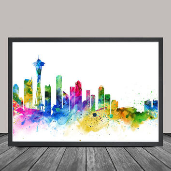 Seattle Skyline, Seattle Cityscape, Seattle Print, Watercolor Art, Watercolor Painting,Seattle City Art, Map Poster, Skyline Art(127)