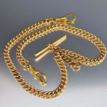 Antique 18K Rolled Gold Double Albert Watch Chain