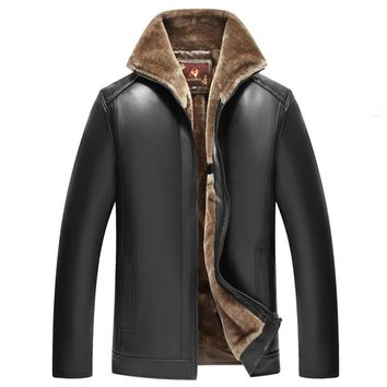 AFS JEEP men's winter jacket fleece warm fur woolen casual mens jackets fur collar plush faux leather Motorcycle jacket