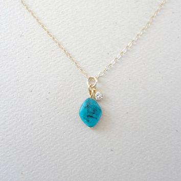 Dainty turquoise necklace, Minimal turquoise necklace, Turquoise wedding, Bridesmaid necklace, Prom necklace, Simple everyday necklace