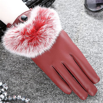Fashion Rabbit Fur Pom Faux Leather Touch Screen Gloves Elegant Women Party Gift Winter Warm Driving Outdoor Mitten Luva Guantes