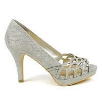 Celeste Melissa-03 Embellished Laser-cut Dress Pump in Silver @ ippolitan.com