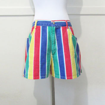 "Shorts Striped Denim 32"" x 3"" Vintage late 80's early 90's"