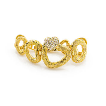 Cubic Zirconia Heart Shaped Sterling 18K Plated Gold Polished Bracelet