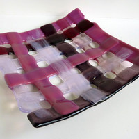 Woven Glass Plate Pink Phlox and Cranberry by bprdesigns on Etsy