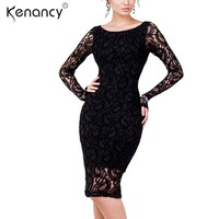 Kenancy 3XL Plus Size Sexy Lace Dress Women Party & Club Long Sleeve Knee-Length Perspective Sheath Vestidos Elegant 2 Colors
