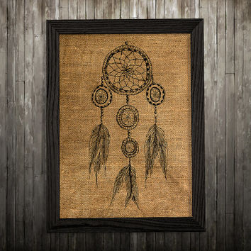 Dreamcatcher poster Tribal art Native print Burlap print BLP770