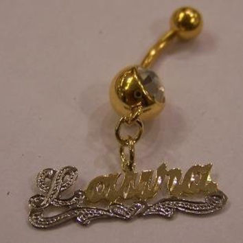 14k gold overlay belly ring with any name Personalized belly ring navel